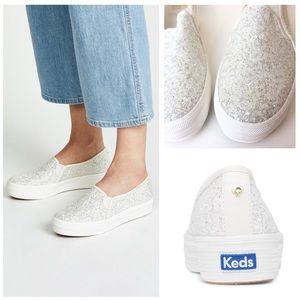 Keds White & Silver Triple Decker Platform Slip On